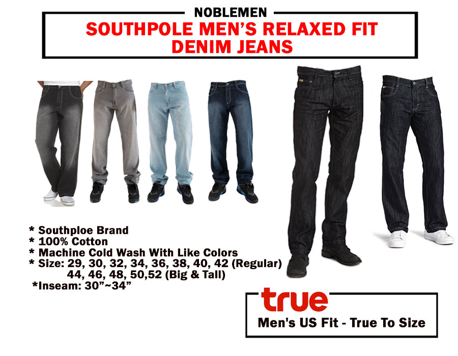 3c336aba99 Jeans SOUTHPOLE MEN JEANS 4180 RELAXED FIT DENIM 7 COLORS BIG AND TALL 32~52